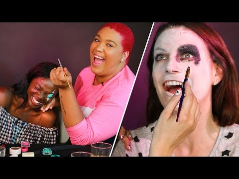 Drunk Halloween Makeup Challenge