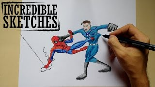 DRAWING SPIDER-MAN VS MR.FANTASTIC/SPEED DRAWING/EPIC BATTLE [Incredible Sketches]