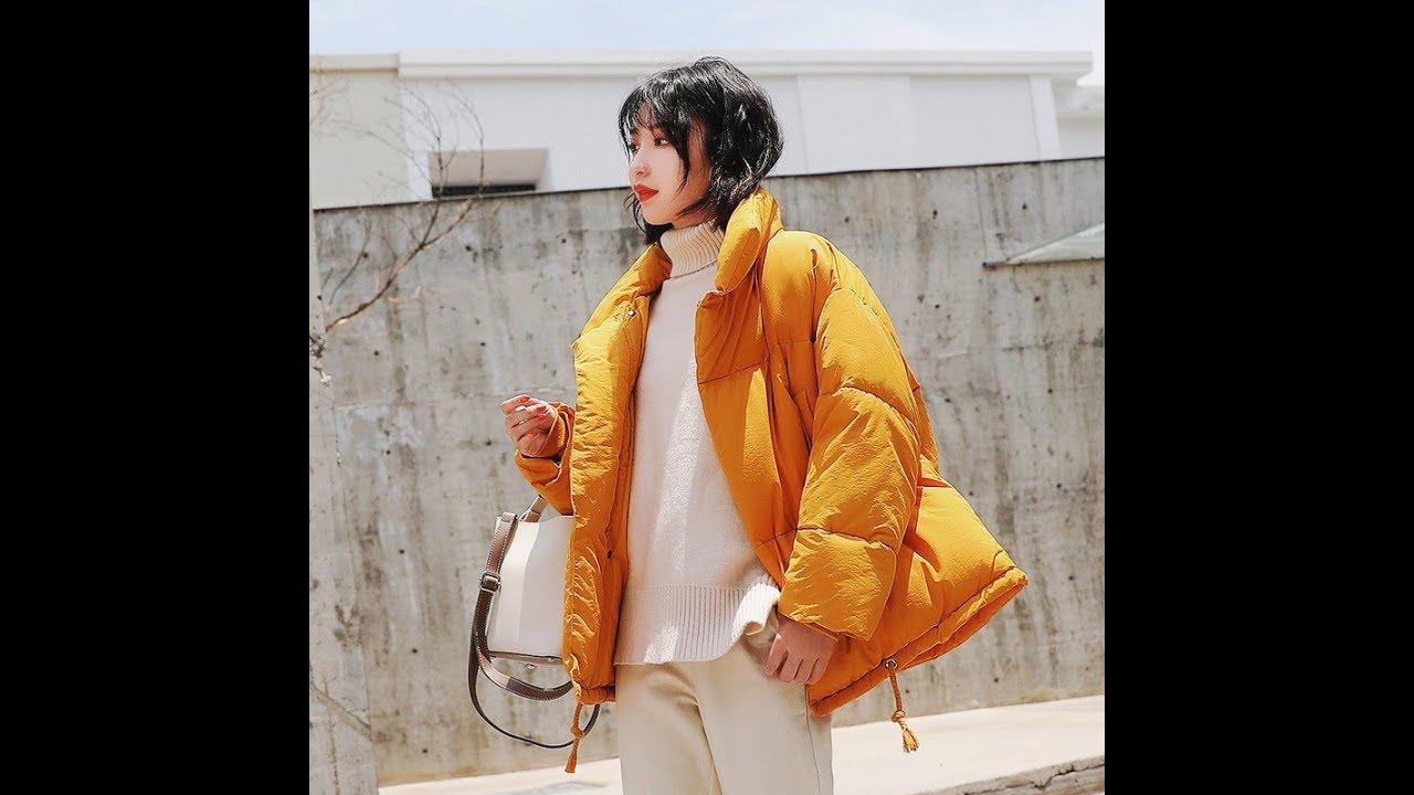 [VIDEO] - Fashion Women's Short Jacket Winter Design Cute Cotton Padded Yellow Coats 2