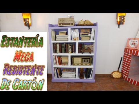 Diy Estantería Hecha Con Cartón Para Libros Tutoriales Muebles De Cartón
