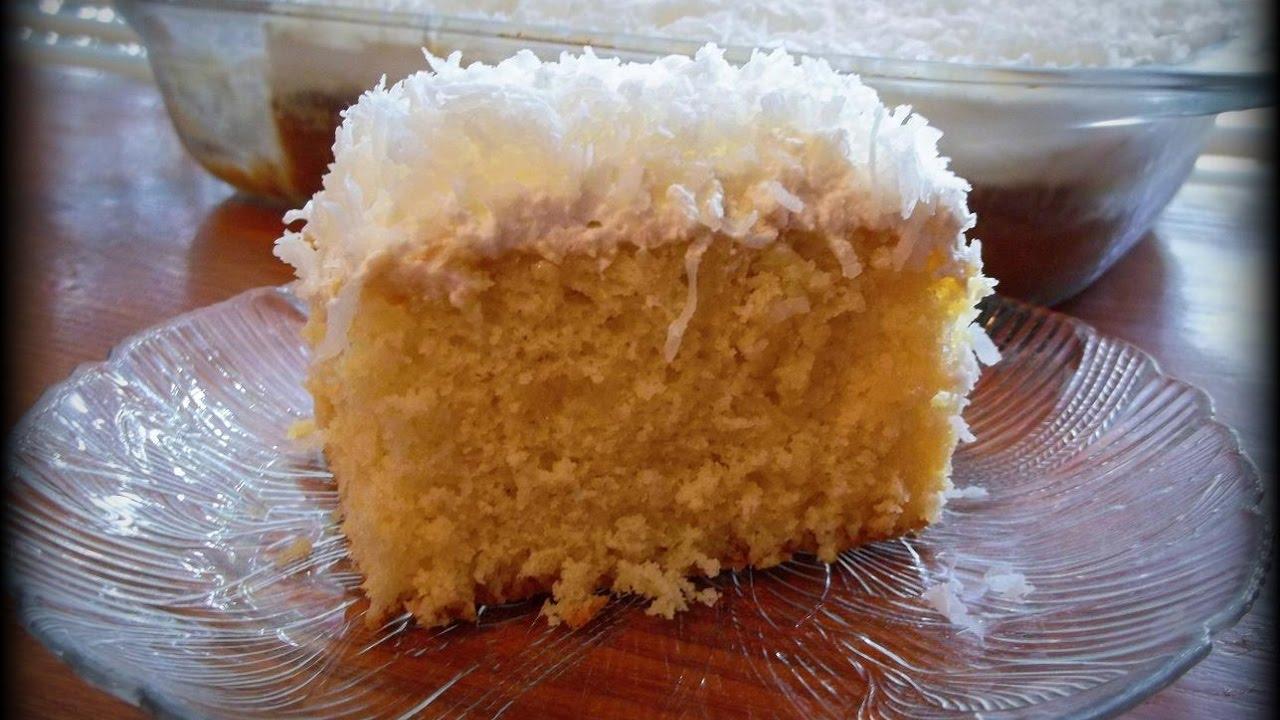 كيك بكريما جوز الهند والحليب English Food Milk Cake Coconut Cream