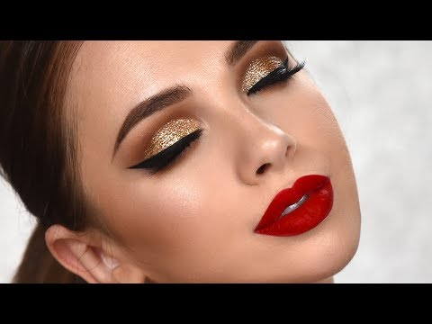 Special Occasion Glam Makeup Tutorial – Gold Glitter Smokey Eye