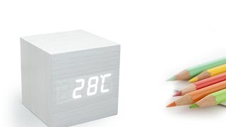Cube Wood Grain LED Alarm Digital Clock with Thermometer