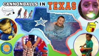 CANNONBALLS in TEXAS! Sky Kids go to MEGA ARCADE! FUNnel Vision Family TX Trip Part 1 Vlog