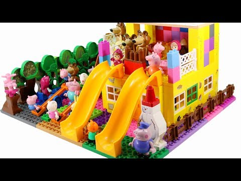 Thumbnail: Peppa Pig Blocks Mega House LEGO Creations Sets With Masha And The Bear Legos Toys For Kids #28