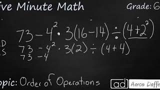 6th Grade Math Order of Operations