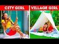 City Girl VS Village Girl || Useful Outdoor Hacks by 5-Minute DECOR!