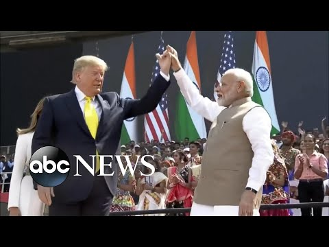 Thousands greet President Trump as he arrives in India | ABC News
