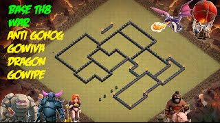 Clash of clans - town hall 8 (th8) - best base war anti 3 ANTI gowipe gohog gowiva dragon + Replay