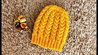 МК Красивая детская шапка, вязанная спицами, на сезон весна-осень. 48-50