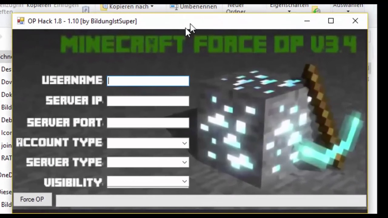 minecraft pe force op hack download