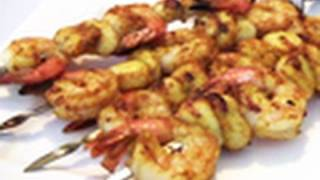 Curried Prawn / Shrimp And Scallop Skewers Recipe