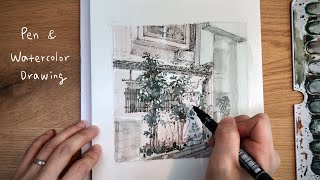 [PEN & WATERCOLOR] 나무가 있는 집?소박…