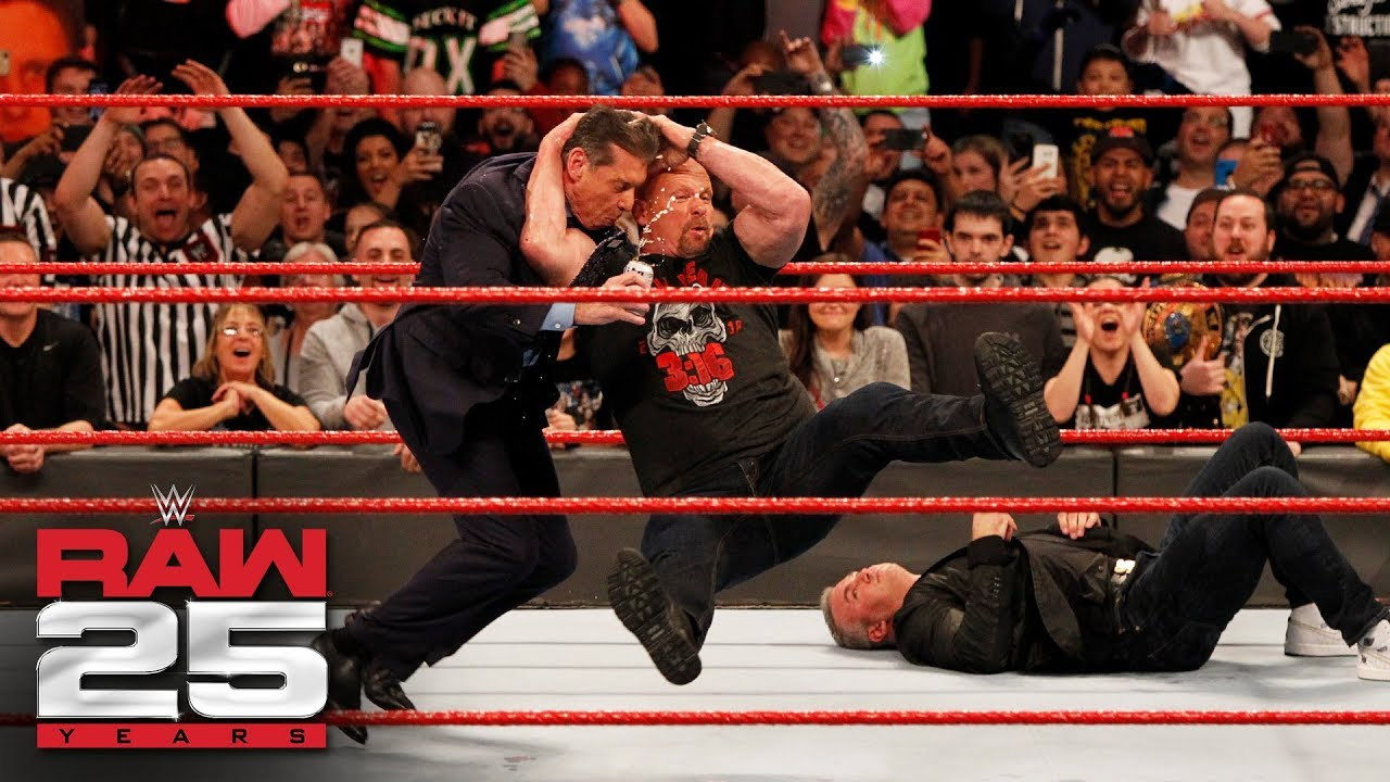Stone Cold Steve Austin Stuns Shane And Mr McMahon Raw 25 Jan 22 2018