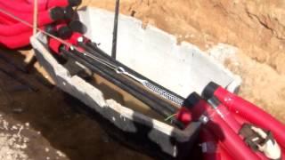 Использование чулка для протяжки кабеля.