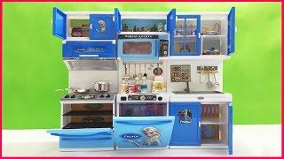 Đồ chơi nhà bếp nấu ăn ELSA ANNA, tủ bếp, tủ lạnh lò nướng shopkins 40 món (Chim Xinh)