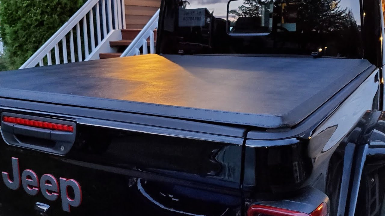 Tri Fold Tonneau Cover >> Jeep Gladiator Tonneau bed cover installed - YouTube