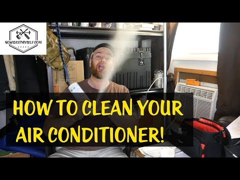 How to clean a window air conditioner, remove the mold and make it smell better.