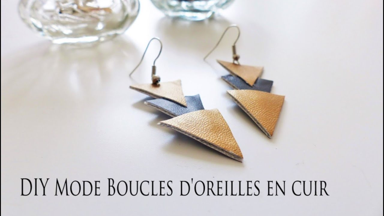 diy mode boucles d 39 oreilles en cuir youtube. Black Bedroom Furniture Sets. Home Design Ideas