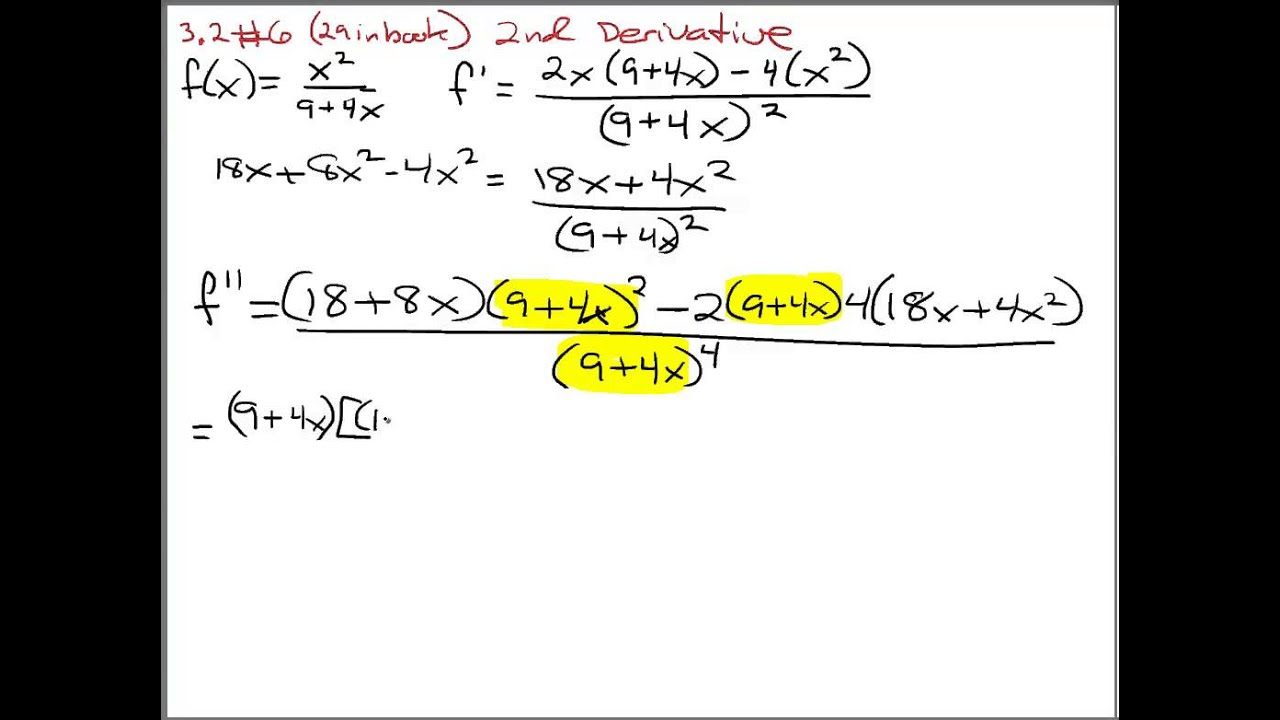 calculus 2nd derivative with quotient rule youtube