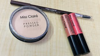 Miss Claire Pressed Powder Review | Miss Claire Matte Lipstick Review | Miss Claire Eyebrow Pencil