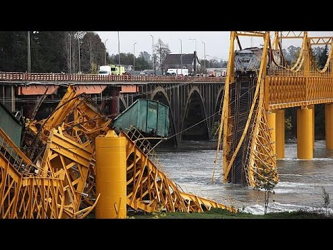 Freight train falls into river after bridge collapses in Chile