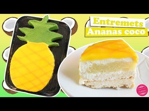 🍍-entremets-ananas-noix-de-coco-~-gâteau-en-forme-d'ananas-!-🍍