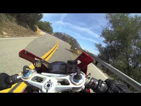 Ducati Panigale R chasing BMW S1000R up the snake Mulholland Highway