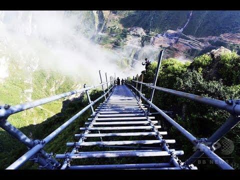 まさに命がけ! 中国、断崖絶壁の村の歩道が・・・