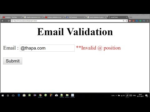 Email validation in Javascript in Hindi 2018 [ with source code ]