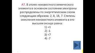 Тесты по химии. Таблица Менделеева. Степень окисления. А7 ЦТ 2015