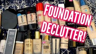 Makeup Declutter 2018: Foundation! (SAVAGE DECLUTTER!)