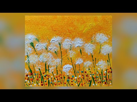 Floral Landscape Acrylic Painting Demo | Easy | Daily Art Therapy | Relaxing & Satisfying