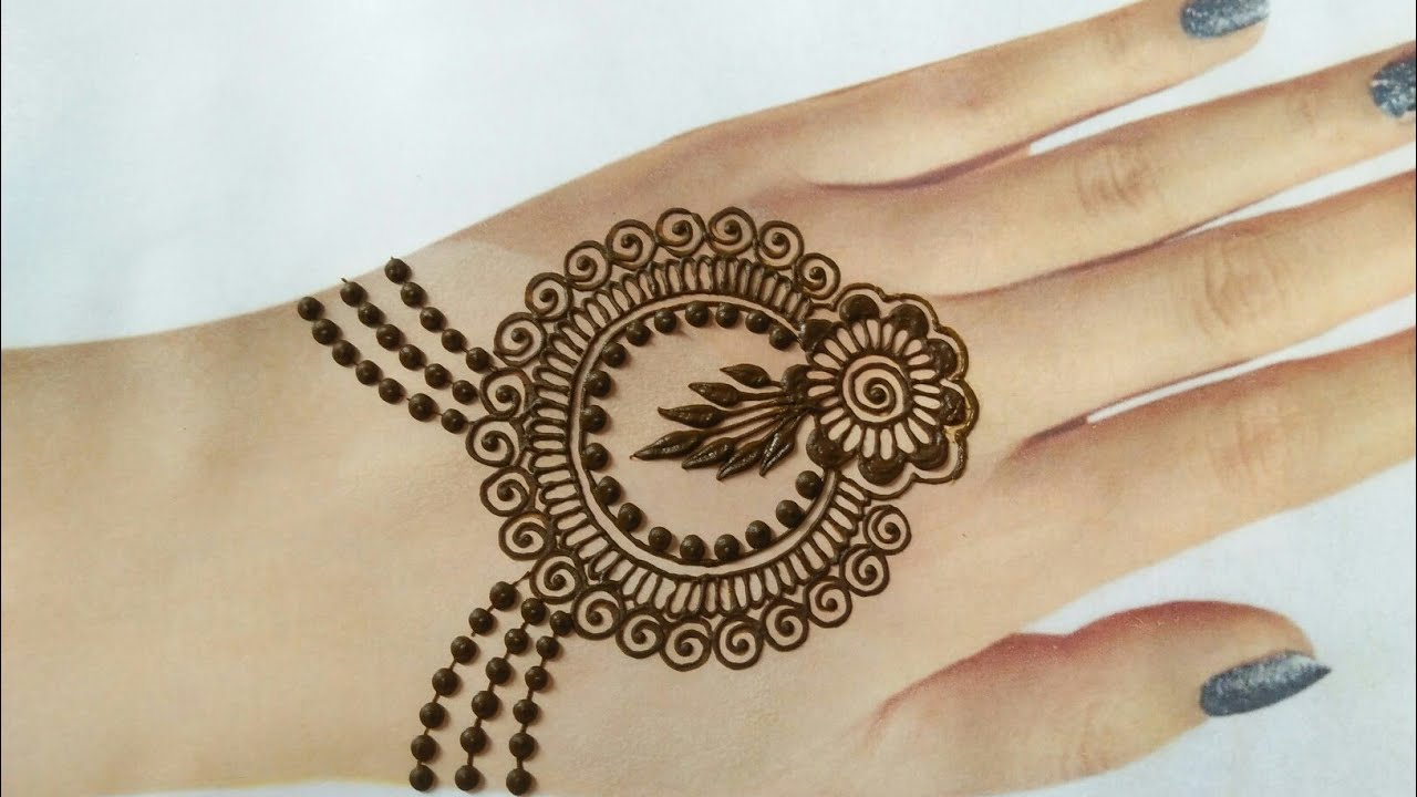 Janmashtmi special jewellery style back hand mehndi design | Easy simple stylish gol tikki mehndi