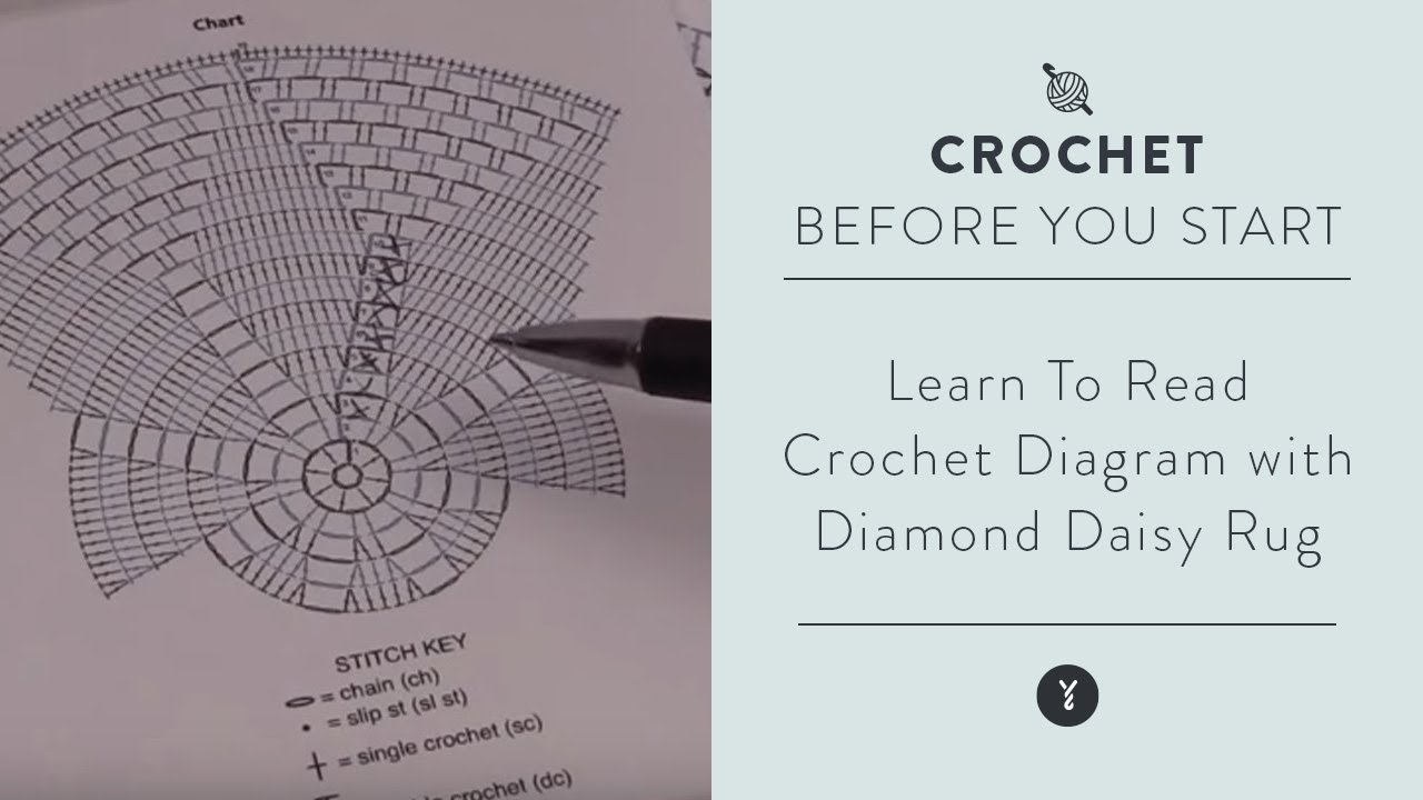 Learn how to read crochet diagram with diamond daisy rug youtube learn how to read crochet diagram with diamond daisy rug ccuart Image collections