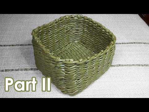 DIY newspaper crafts basket part 2سلة مربعة القاعدة من الورق