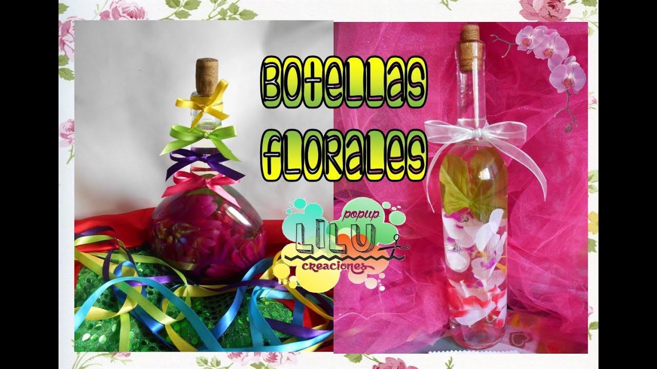 Botella con flores artificiales para decoraci n youtube - Decoracion de jarrones con flores artificiales ...