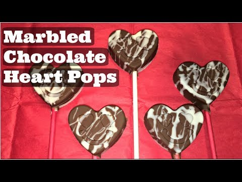 Easy Marbled Chocolate Heart Pops