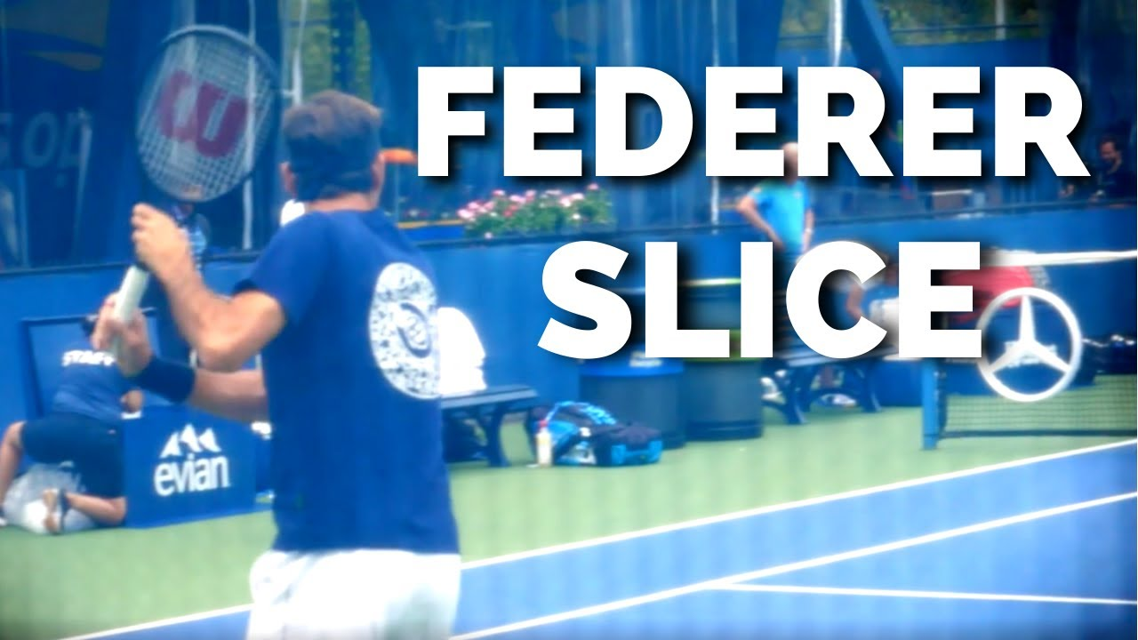 Roger Federer Slice Backhand Slow Motion Court Level View - ATP Tennis Backhand Slice Technique