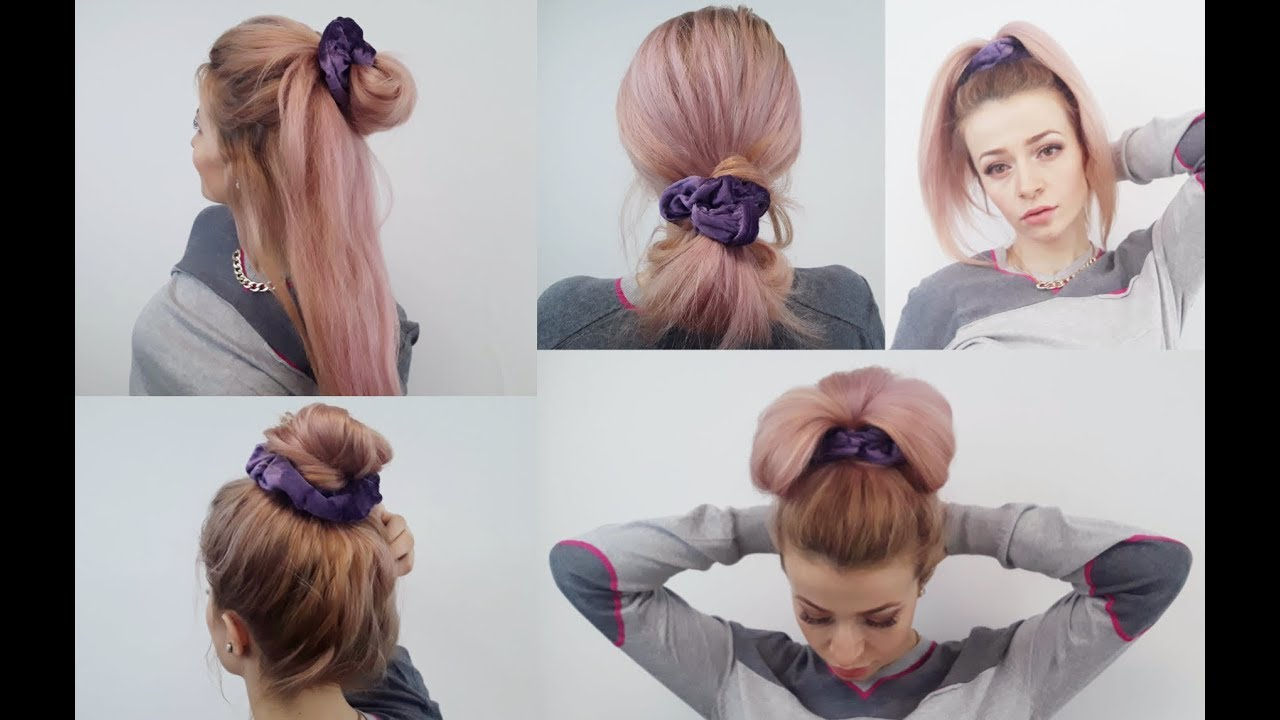 Scrunchie Hair Styles: SUPER EASY HAIRSTYLES QUICK AND EASY SCRUNCHIE HAIRSTYLES