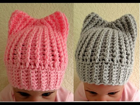 Easy Crochet Baby Hat With Ears Tutorial 0 3 Months Up To 5 Months