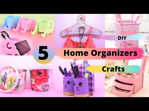 5 DIY Room Organizer Idea | Best cardboard box craft idea | Waste material reuse idea | Aloha Crafts
