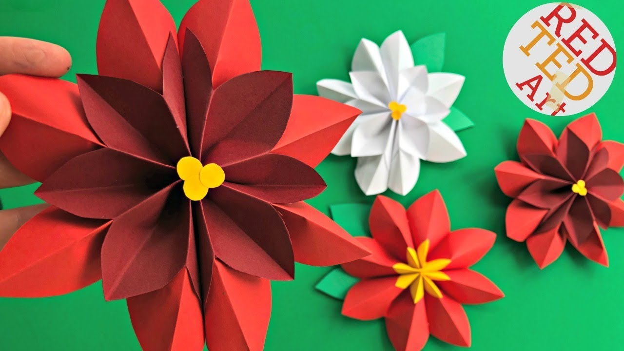 Easy Paper Flowers Poinsettia Red Ted Art
