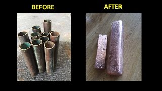 How To Turn Copper Pipes into Solid Copper Bullion Bars 1080p Melting Copper