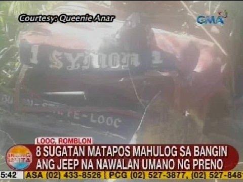 UB: 8 sugatan matapos mahulog sa bangin sa Looc, Romblon ang jeep na nawalan umano ng preno