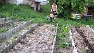 Семья Бровченко. Как не глубоко обработать землю в грядке с помощью мотоблока.