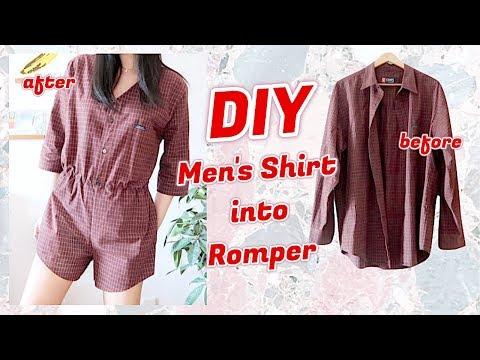 Refashion DIY Men's Shirt into Romper Jumpsuit / ファッション 古着リメイク服 / 옷리폼 / COSTURAㅣmadebyaya