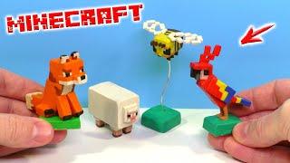 мИМОЗЫРЯ, КАКАДУША и ПЧЕЛА - друзья Чикибамбони. Майнкрафт из пластилина  Minecraft