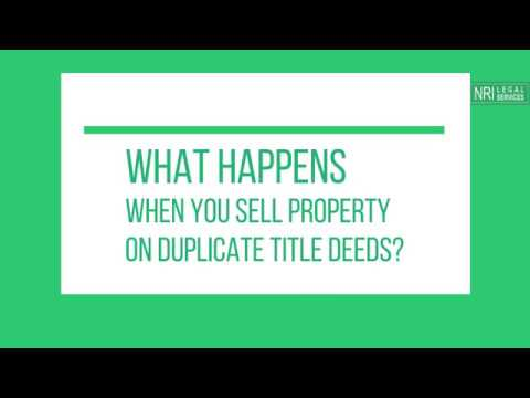On duplicate title deeds of the property -  Advocate Nidhi Singh