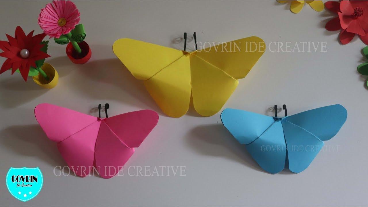 Cara Membuat Hiasan Dinding Dari Kertas Origami Motif Kupu-kupu